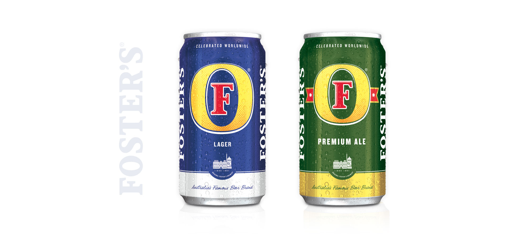 Latas de cerveza Foster's